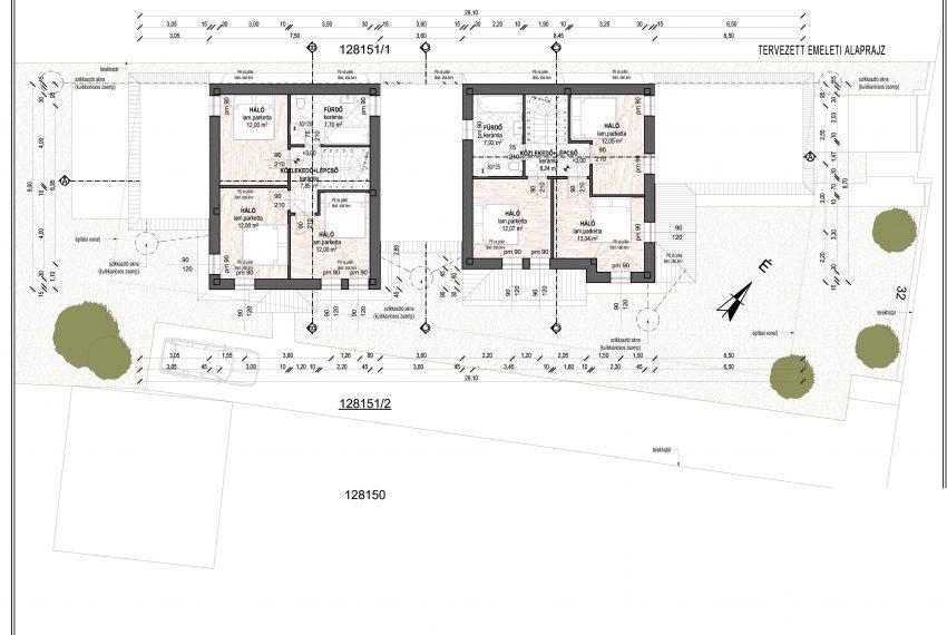É-02_M Tervezett emeleti alaprajz